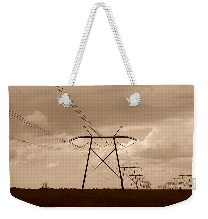 Sepia Weekender Tote Bag featuring the photograph Sepia Power by Rob Hans