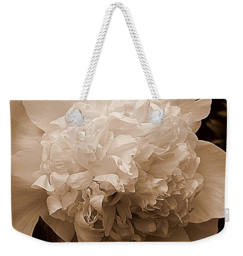 Sepia Weekender Tote Bag featuring the photograph Sepia Series - Peony by Arlane Crump