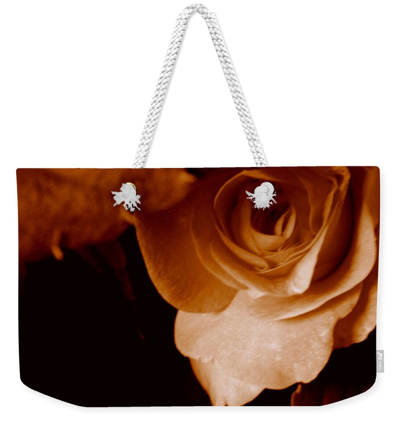 Sepia Weekender Tote Bag featuring the photograph Sepia Series - Rose Petals by Arlane Crump