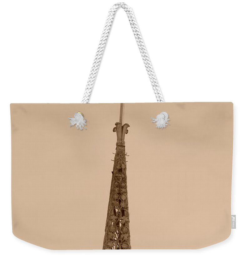 Sepia Weekender Tote Bag featuring the photograph Sepia Spire by Rob Hans