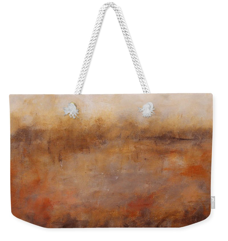 Abstract Weekender Tote Bag featuring the painting Sepia Wetlands by Ruth Palmer