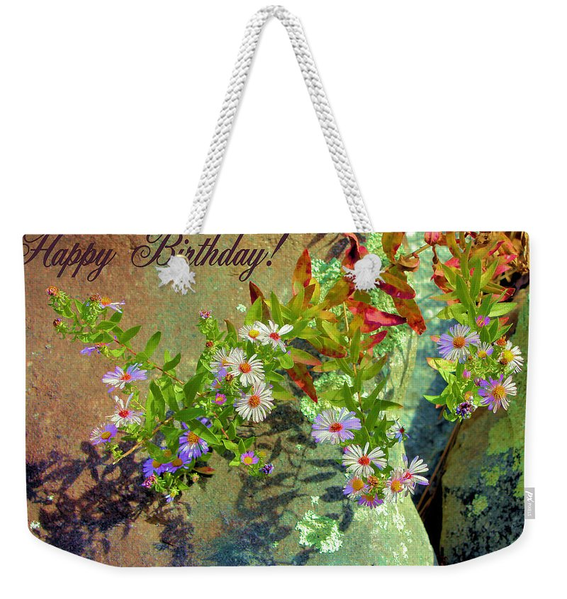 9de45ddda7 Happy Birthday Weekender Tote Bag featuring the photograph September  Birthday Aster by Kristin Elmquist