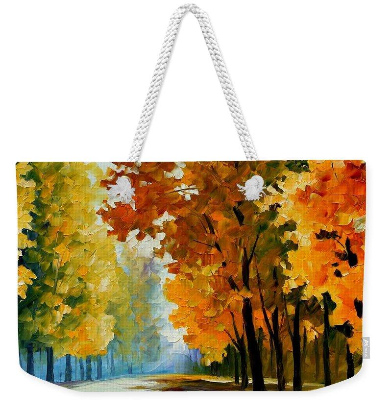 Afremov Weekender Tote Bag featuring the painting September Morning by Leonid Afremov
