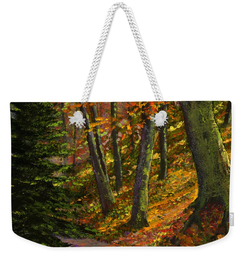 Road In The Woods Weekender Tote Bag featuring the painting September Road by Frank Wilson