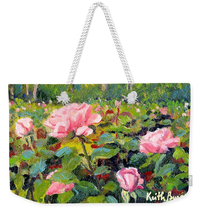 Impressionism Weekender Tote Bag featuring the painting September Roses by Keith Burgess
