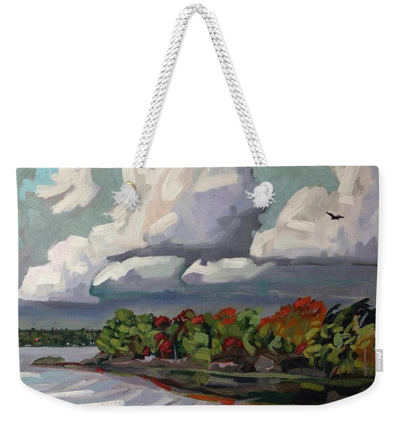 Tower Weekender Tote Bag featuring the painting September Sky 2012 by Phil Chadwick