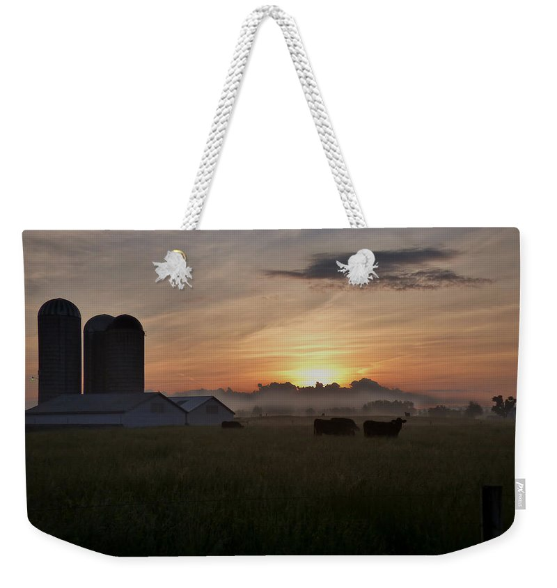 Sun Weekender Tote Bag featuring the photograph September Sunrise by Bob Geary
