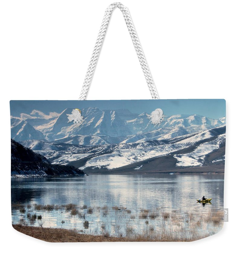 Landscape Weekender Tote Bag featuring the photograph Serene Paddling by Scott Sawyer