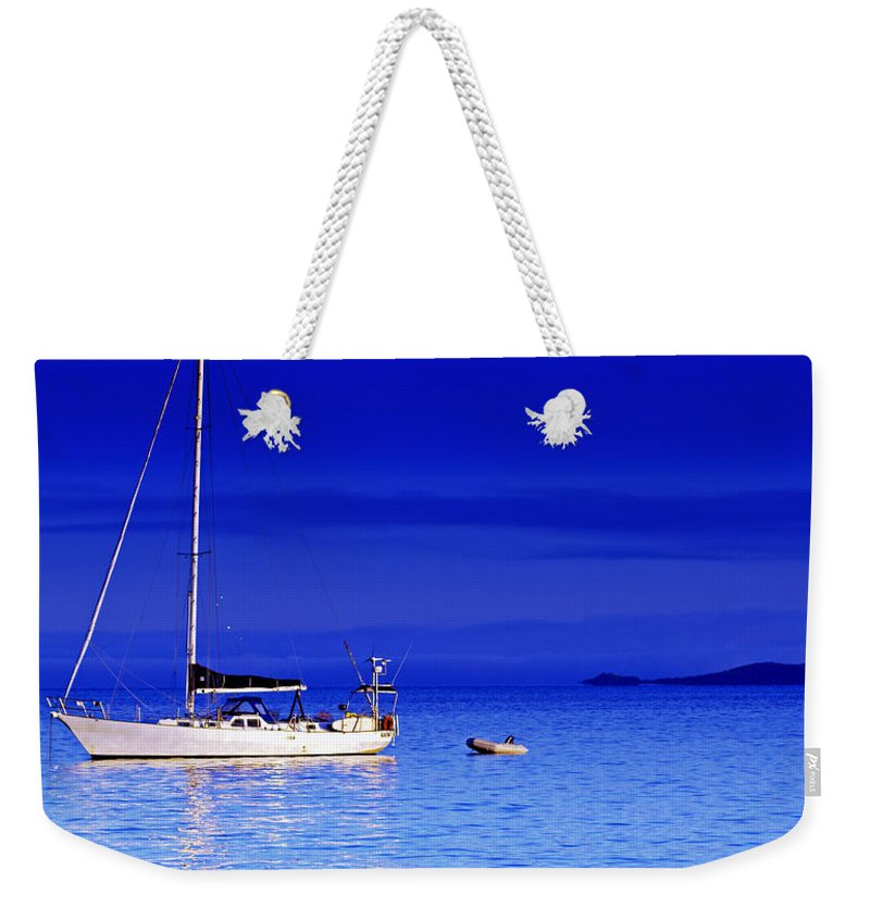Transportation. Boats Weekender Tote Bag featuring the photograph Serene Seas by Holly Kempe