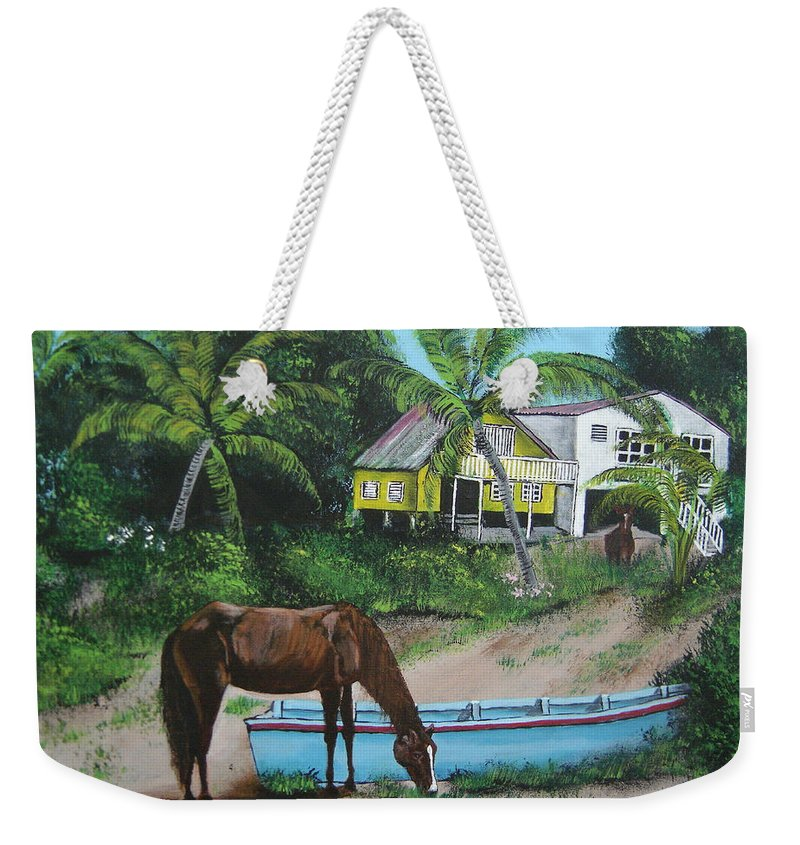 Aguadilla Weekender Tote Bag featuring the painting Serenity by Luis F Rodriguez