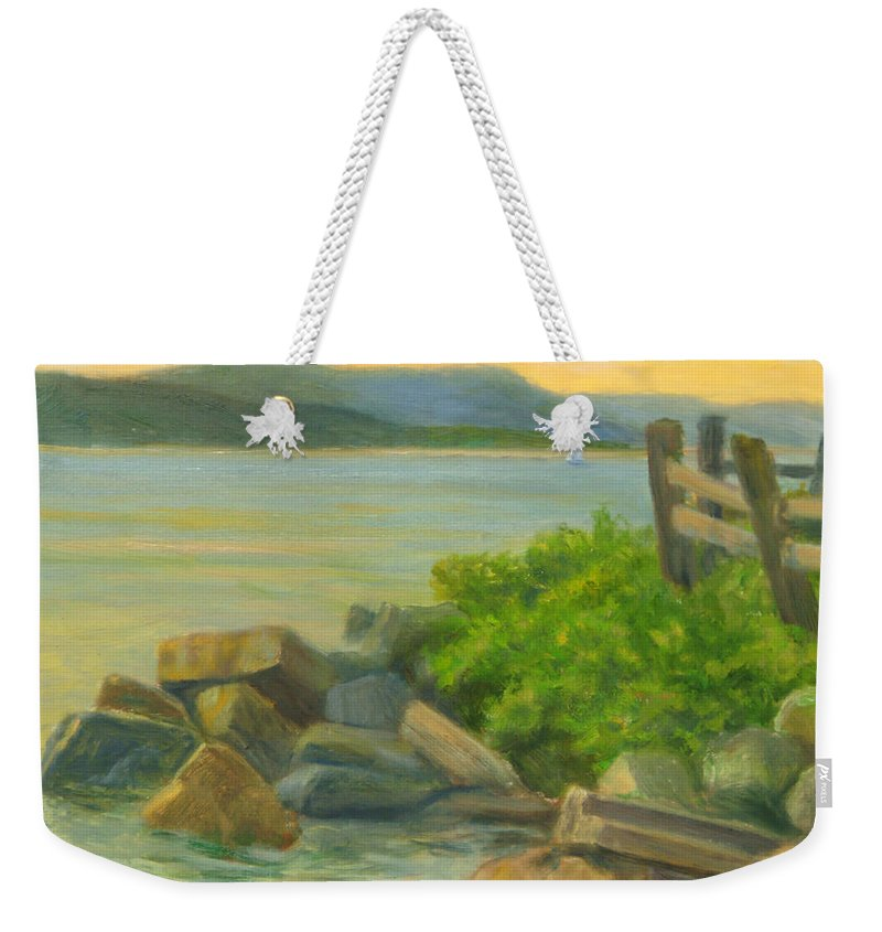 Landscape Weekender Tote Bag featuring the painting Serenity On The Hudson by Phyllis Tarlow