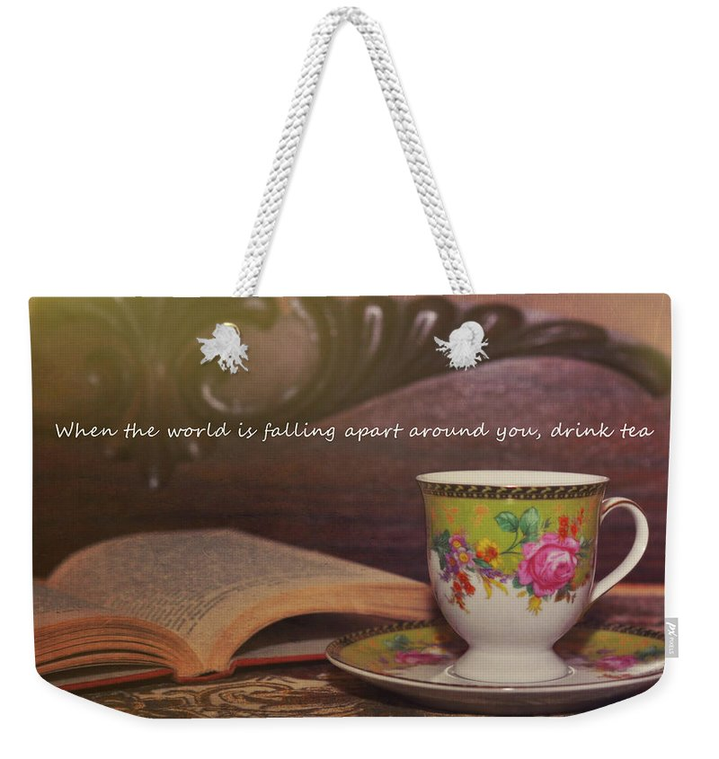 Tea Weekender Tote Bag featuring the photograph Serenity Quote by JAMART Photography