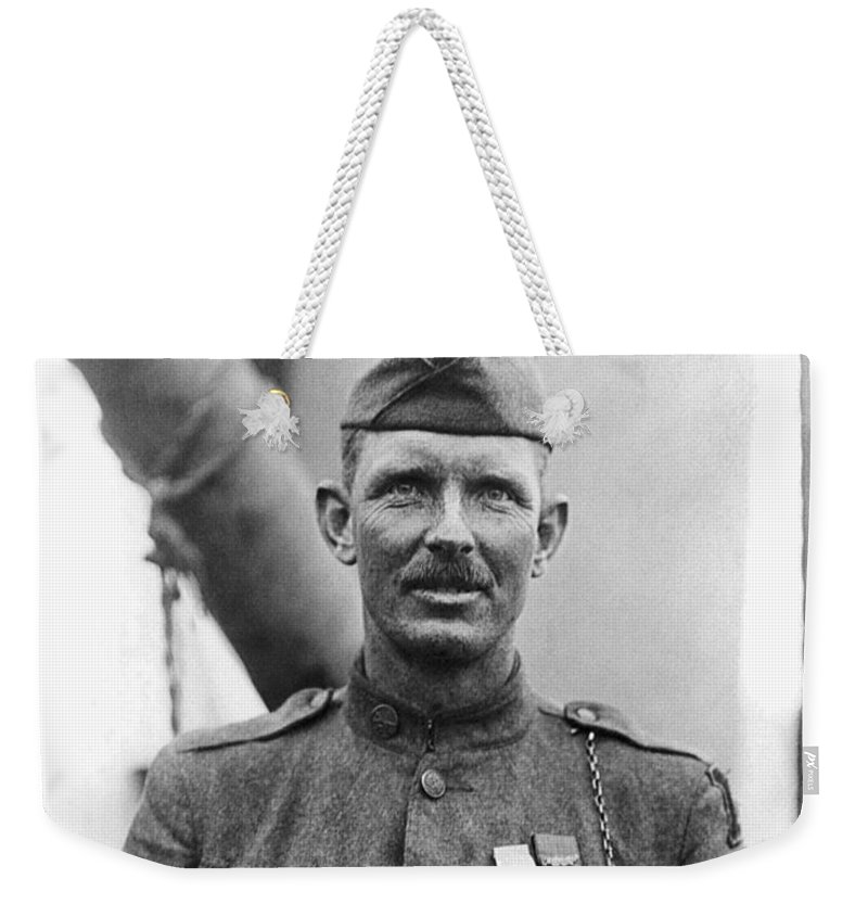 Alvin York Weekender Tote Bag featuring the photograph Sergeant York - World War I Portrait by War Is Hell Store