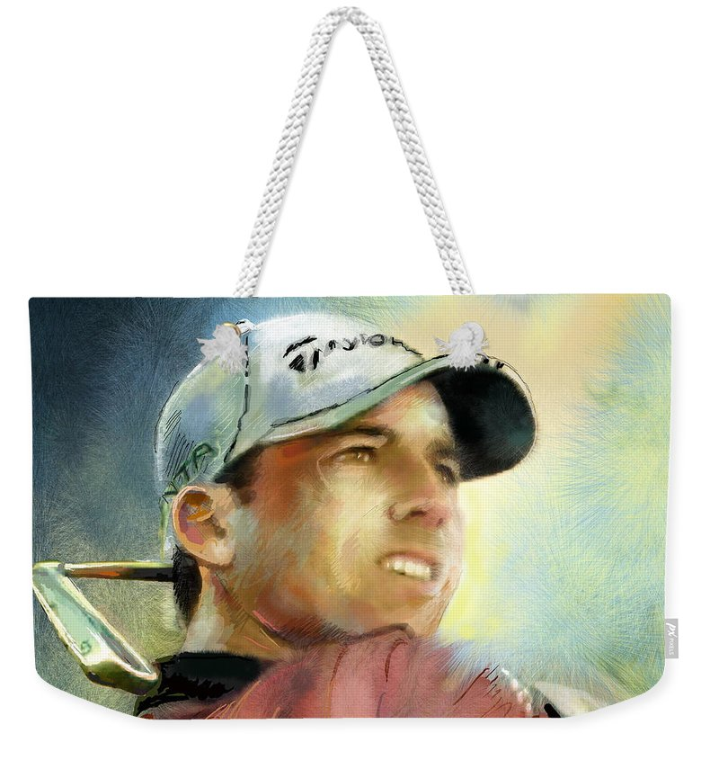 Golf Painting Golfart Castello Masters Spian Sport Weekender Tote Bag featuring the painting Sergio Garcia In The Castello Masters by Miki De Goodaboom