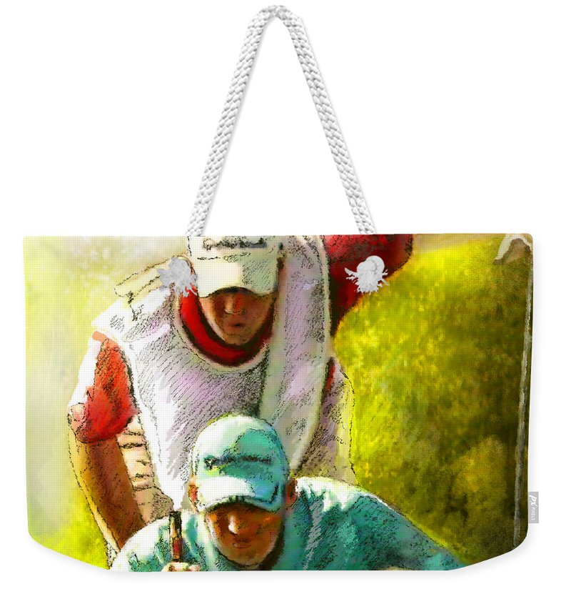Sport Weekender Tote Bag featuring the painting Sergio Garcia In The Madrid Masters by Miki De Goodaboom