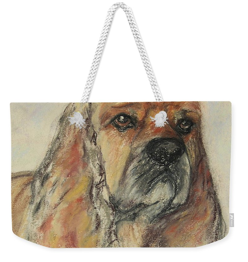 Dog Weekender Tote Bag featuring the drawing Serious Intent by Cori Solomon