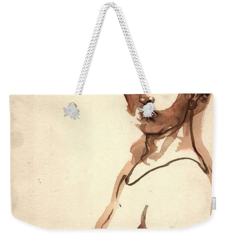 Portrait Weekender Tote Bag featuring the drawing Serious Man by Ralf Bartel