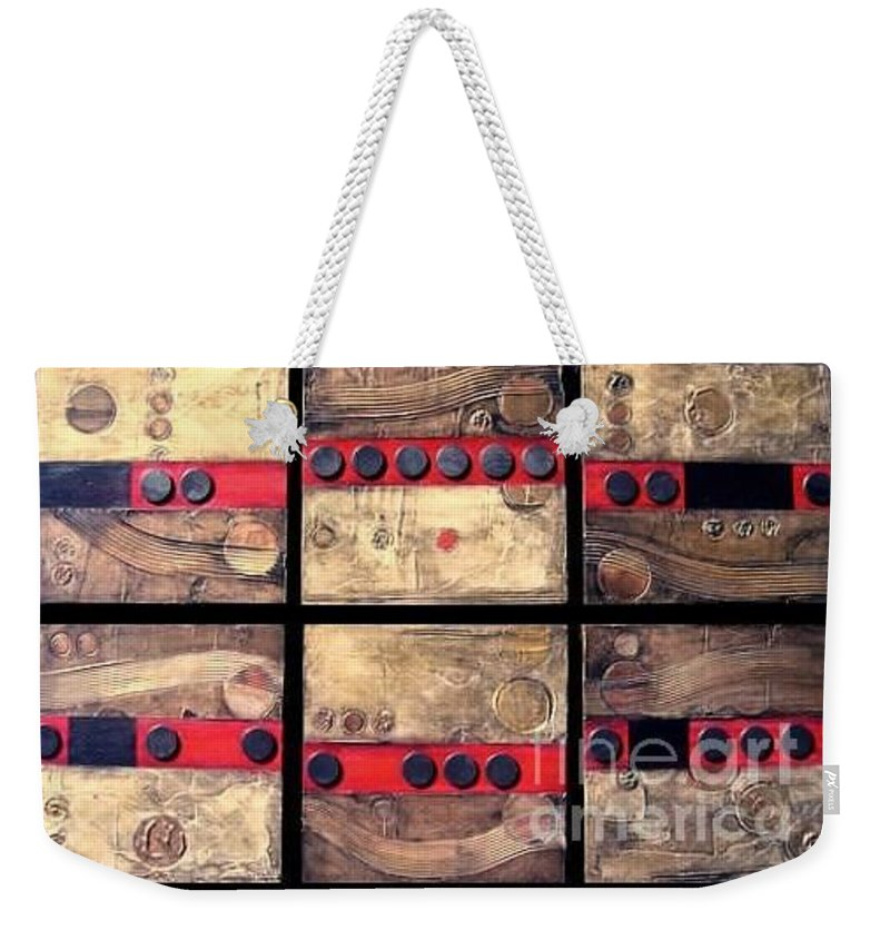 Set Weekender Tote Bag featuring the painting Seriously Metallic by Marlene Burns