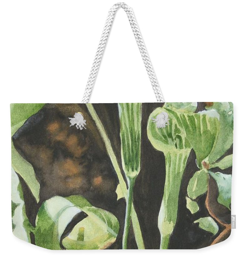 Woods Weekender Tote Bag featuring the painting Sermon In The Woods by Jean Blackmer