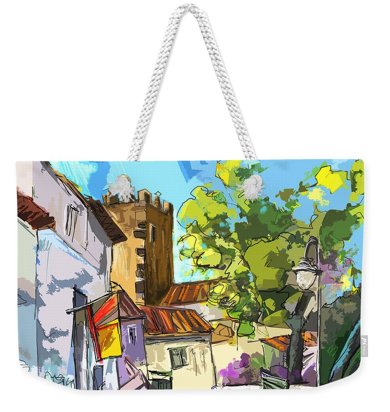 Painting Serpa Portugal Alentejo Travel Sketches Weekender Tote Bag featuring the painting Serpa Portugal 01 Bis by Miki De Goodaboom
