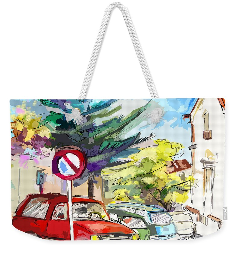 Painting Of Serpa Alentajo Portugal Travel Sketch Weekender Tote Bag featuring the painting Serpa Portugal 02 Bis by Miki De Goodaboom