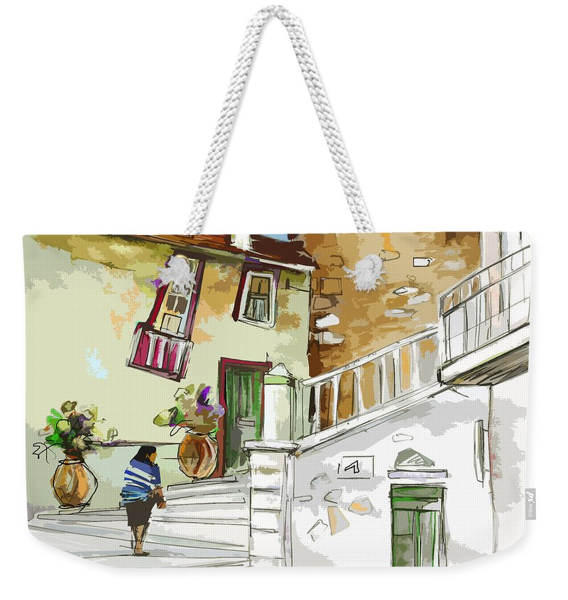 Painting Of Serpa Alentajo Portugal Travel Sketch Weekender Tote Bag featuring the painting Serpa Portugal 03 Bis by Miki De Goodaboom