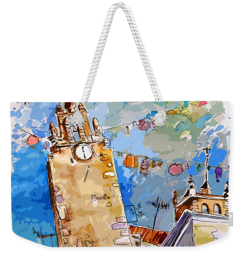 Painting Of Serpa Alentajo Portugal Travel Sketch Weekender Tote Bag featuring the painting Serpa Portugal 08 Bis by Miki De Goodaboom
