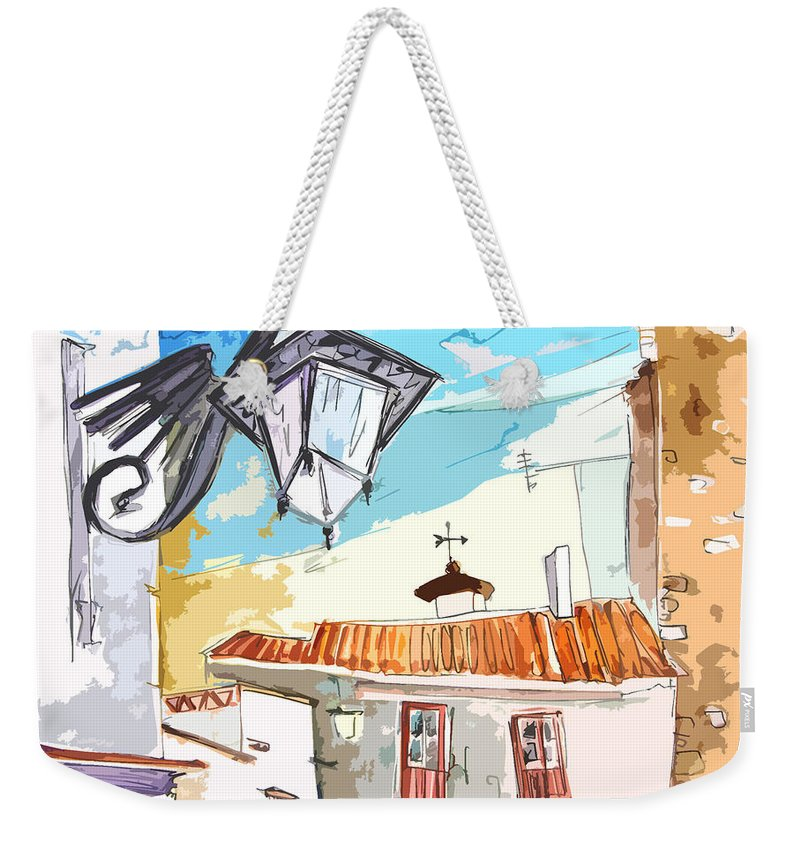 Painting Of Serpa Alentajo Portugal Travel Sketch Weekender Tote Bag featuring the painting Serpa Portugal 09 Bis by Miki De Goodaboom