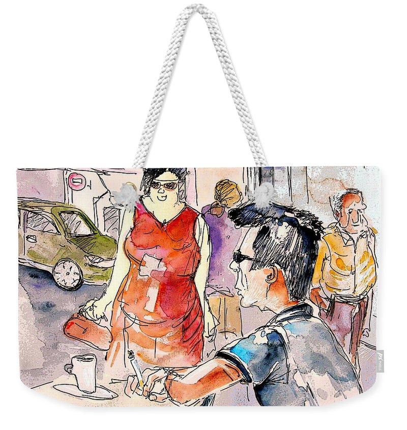 Portugal Paintings Weekender Tote Bag featuring the painting Serpa Portugal 16 by Miki De Goodaboom