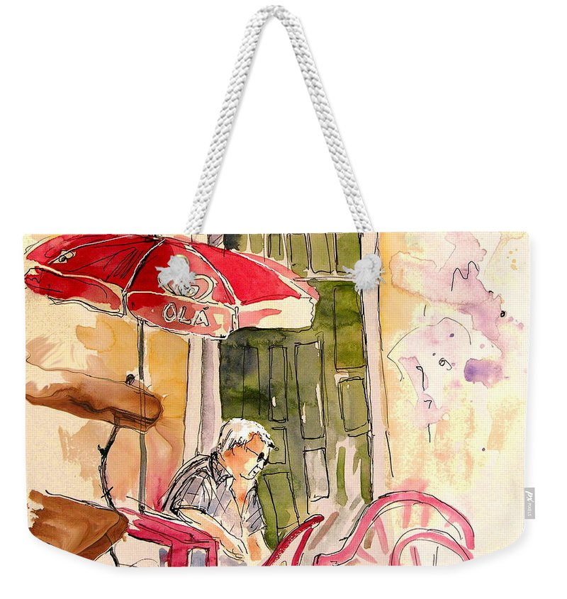 Portugal Paintings Weekender Tote Bag featuring the painting Serpa Portugal 23 by Miki De Goodaboom
