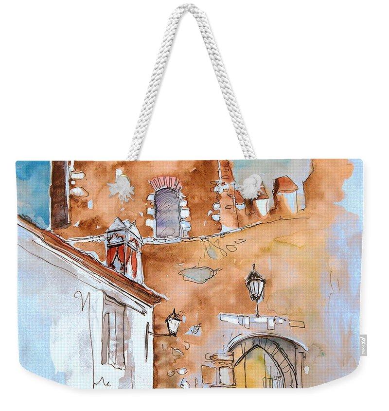 Water Colour Painting Serpa Portugal Weekender Tote Bag featuring the painting Serpa Portugal 29 by Miki De Goodaboom