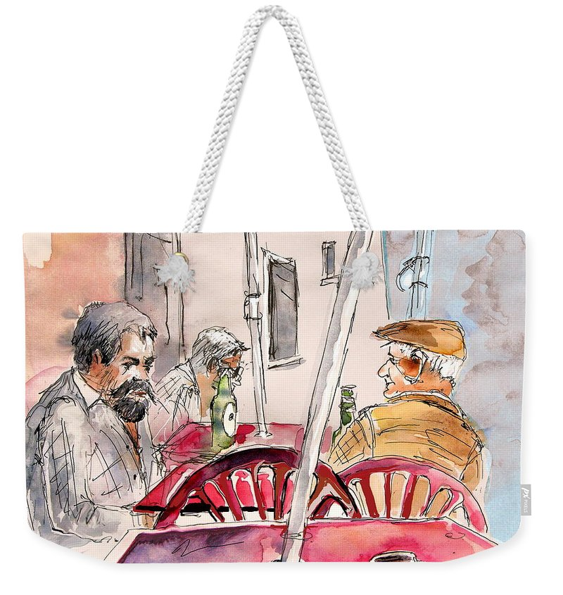 Water Colour Aquarelle Drawings Caricatures From People In Serpa Portugal By Miki Weekender Tote Bag featuring the painting Serpa Portugal 32 by Miki De Goodaboom