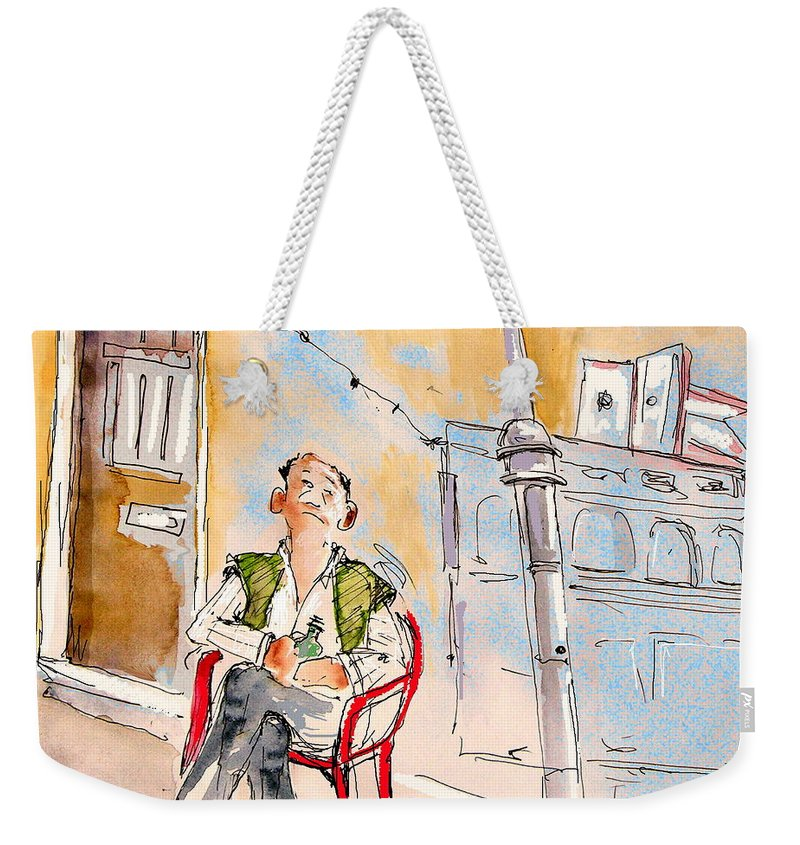 Water Colour Aquarelle Drawings Caricatures From People In Serpa Portugal By Miki Weekender Tote Bag featuring the painting Serpa Portugal 33 by Miki De Goodaboom
