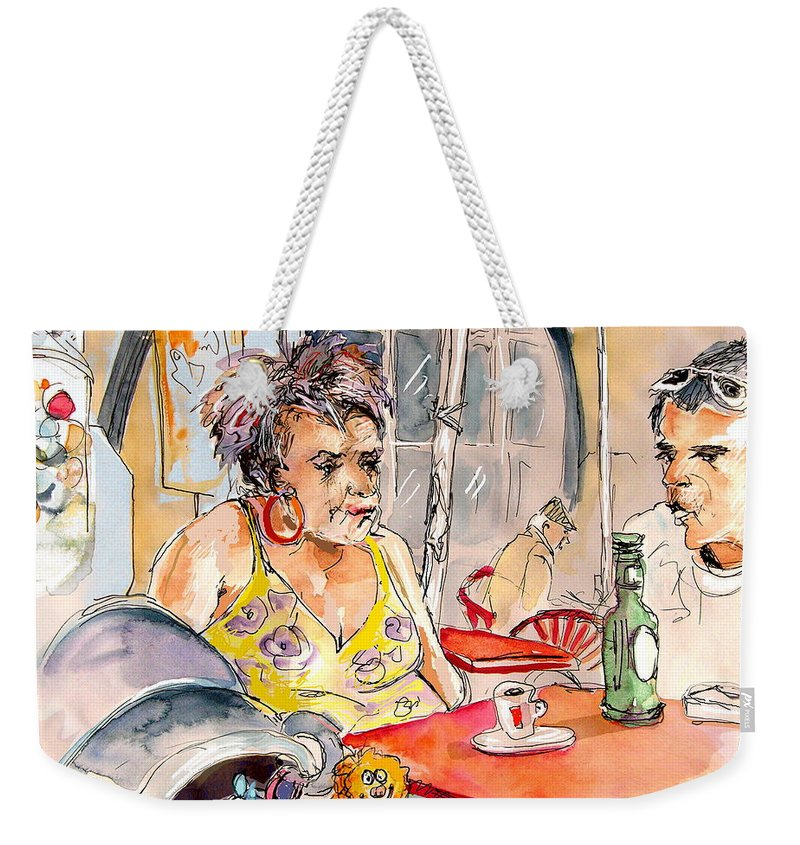 Water Colour Aquarelle Drawings Caricatures From People In Serpa Portugal By Miki Weekender Tote Bag featuring the painting Serpa Portugal 34 by Miki De Goodaboom