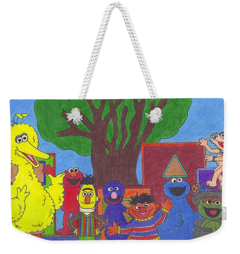 Shapes Weekender Tote Bag featuring the drawing Children's Characters by Jill Christensen