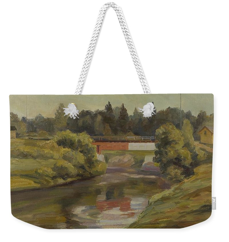 Woldemar Miettinen Weekender Tote Bag featuring the painting Sestra River by MotionAge Designs