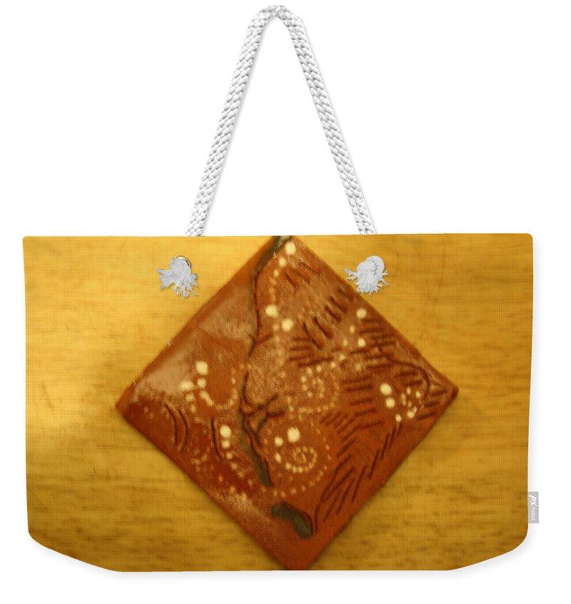 Jesus Weekender Tote Bag featuring the ceramic art Seth - Tile by Gloria Ssali