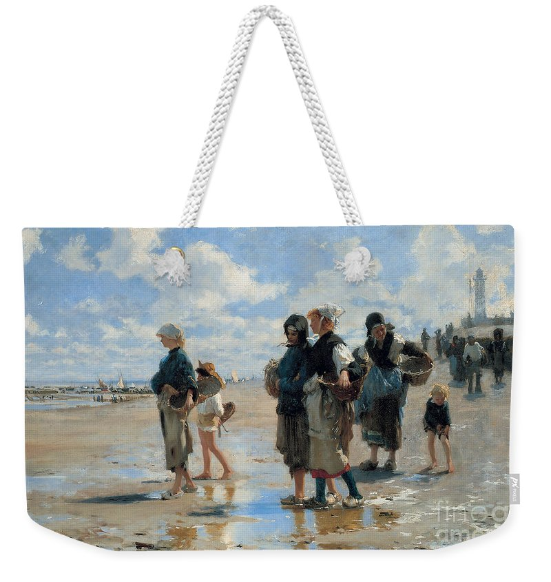 Sargent Weekender Tote Bag featuring the painting Setting Out To Fish by John Singer Sargent