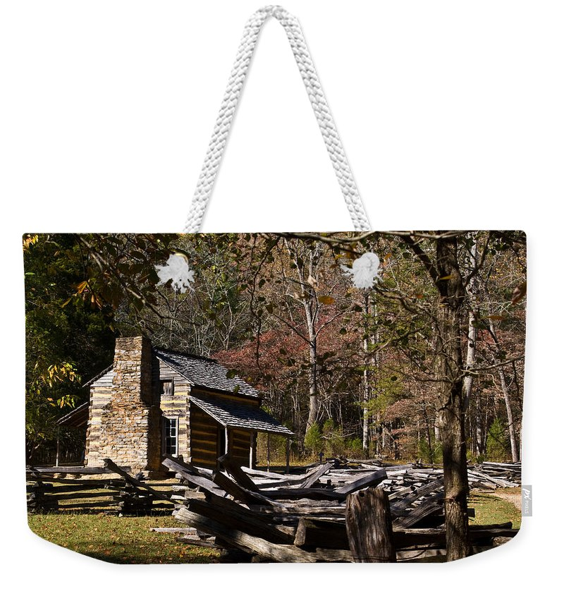 Cabin Weekender Tote Bag featuring the photograph Settlers Cabin by Douglas Barnett