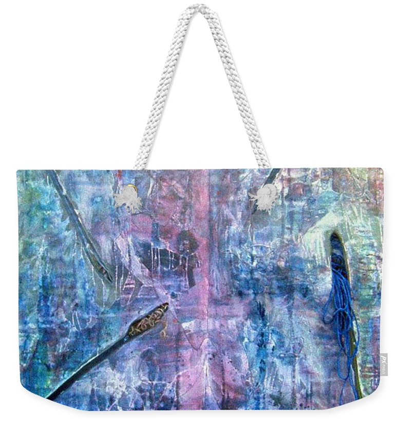 Abstract Weekender Tote Bag featuring the painting Seven Zippers by Nancy Mueller