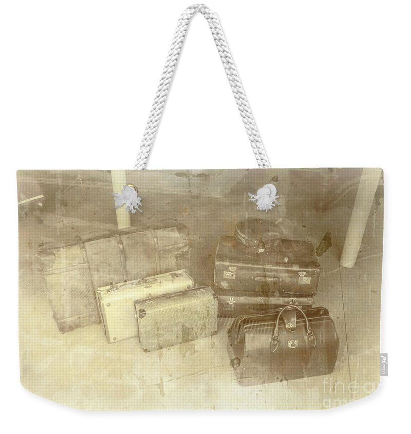 Luggage Weekender Tote Bag featuring the photograph Several Vintage Bags On Floor by Jorgo Photography - Wall Art Gallery