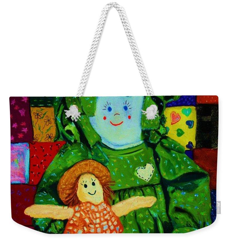 Dolls Weekender Tote Bag featuring the print Sew Sweet by Melinda Etzold