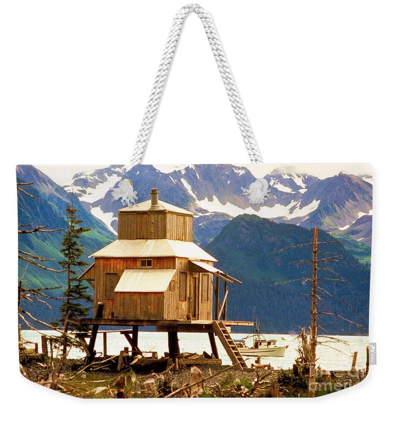 Alaska Weekender Tote Bag featuring the photograph Seward Alaska House Of Stilts by James BO Insogna