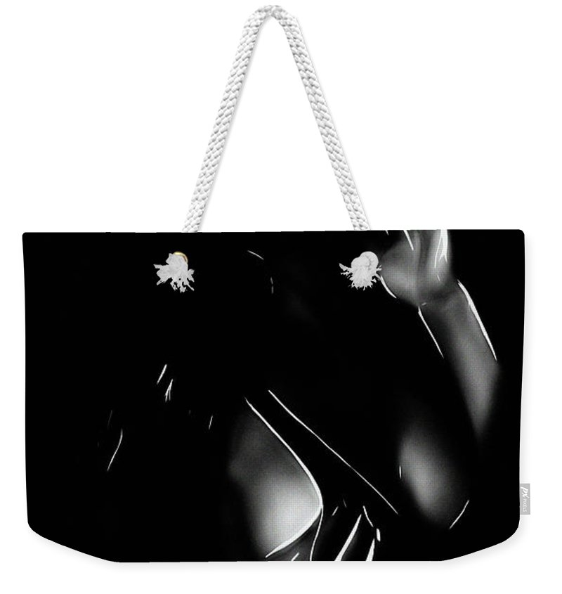 Woman Female Girl Erotic Black White Expressionism Impressionism Sex Sey Boobs Tits Nude Naked Sensual Desire Seduction Weekender Tote Bag featuring the painting Sexappeal by Steve K