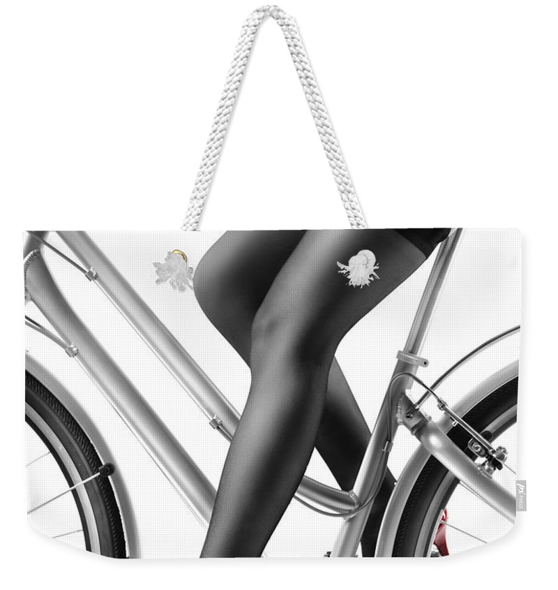 1247a4116cd Bicycle Weekender Tote Bag featuring the photograph Sexy Woman In Red High  Heels And Stockings Riding