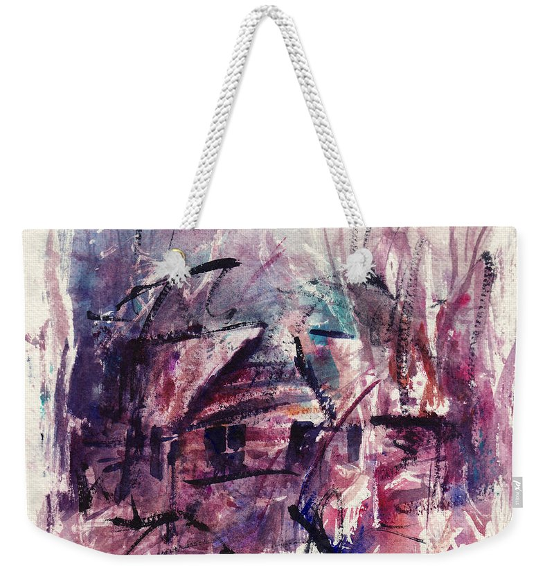 Shack Weekender Tote Bag featuring the painting Shack First Movement by Rachel Christine Nowicki