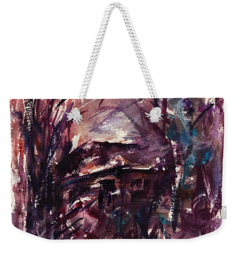 Shack Weekender Tote Bag featuring the painting Shack Second Movement by Rachel Christine Nowicki