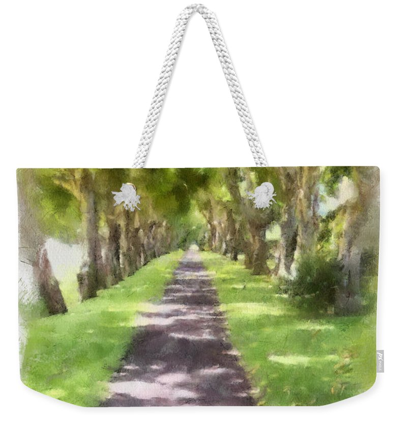Kauai Weekender Tote Bag featuring the painting Shaded Walkway To Princeville Market by Paulette B Wright