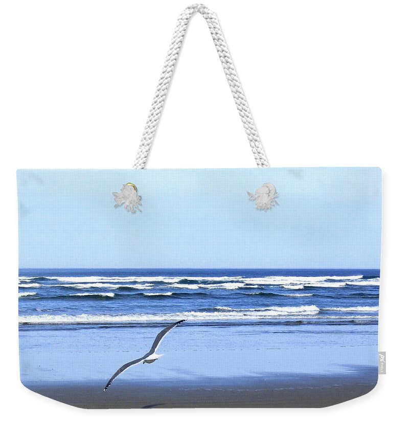 Seagull Weekender Tote Bag featuring the photograph Shadow On The Sand by Will Borden