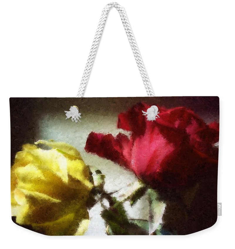Rose Weekender Tote Bag featuring the photograph Shadow Roses by Sherrie Triest